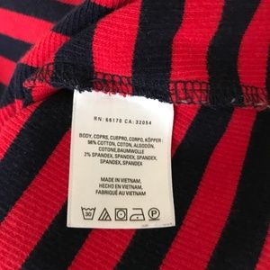 Zara Sweaters - Postmark Red Navy Striped Square Ribbed Knit Top